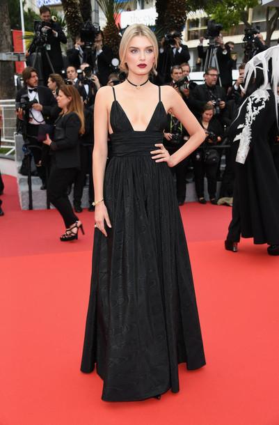 dress lily donaldson black dress gown cannes red carpet dress red carpet plunge dress prom dress