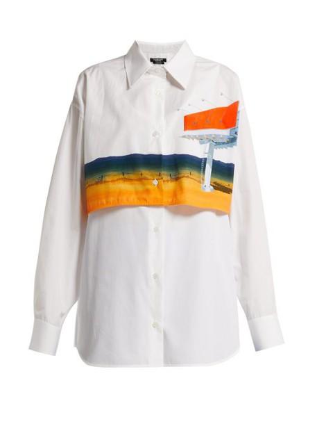 Calvin Klein 205w39nyc - Printed Double Layered Cotton Shirt - Womens - White Multi