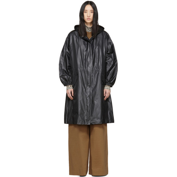 Joseph Black Shiny Coated Lennon Coat