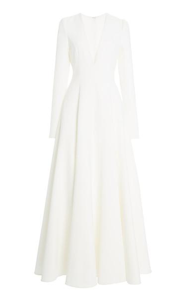 Carolina Herrera Crepe A-Line Maxi Dress in white