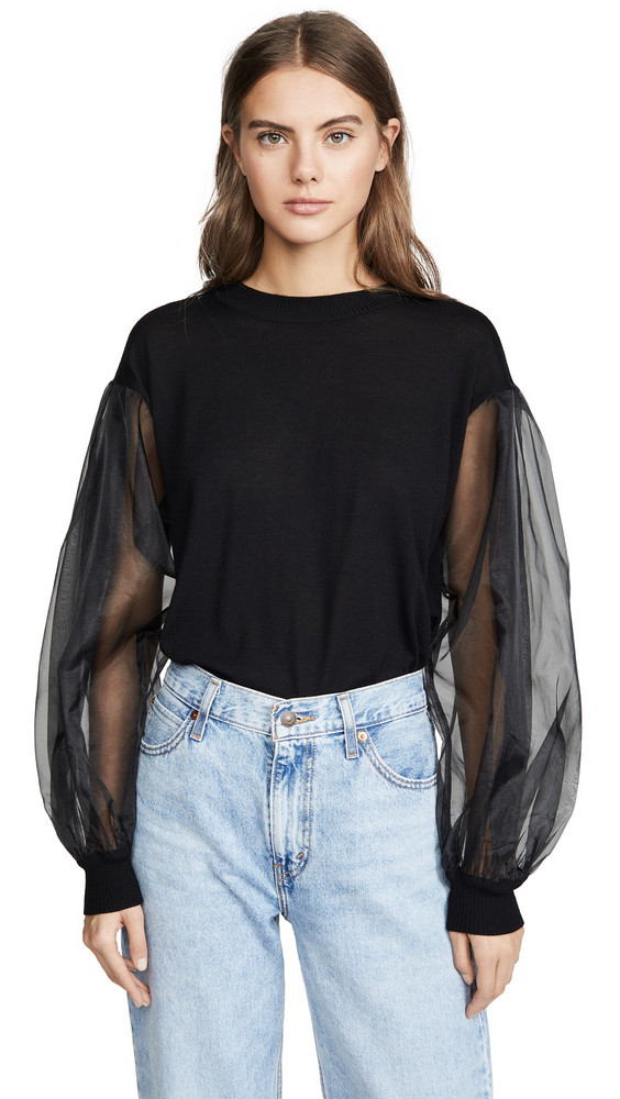 Clu Pullover with Tulle Sleeves in black