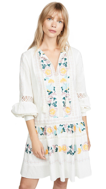 Tory Burch Richa Swiss Dot Cotton Dress in ivory / multi