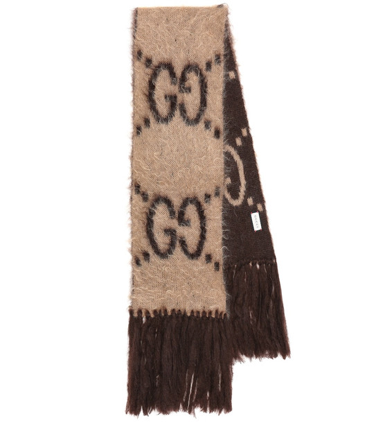 Gucci GG-jacquard mohair-blend scarf in beige