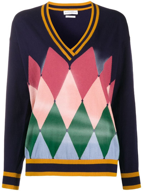 Ballantyne Diamond Airbrush sweater in blue