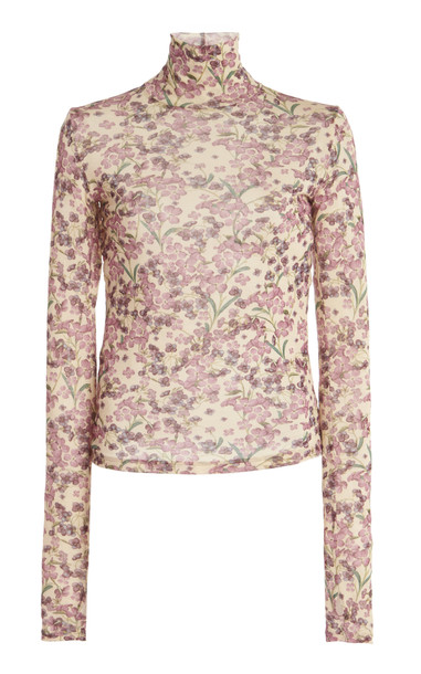 Luisa Beccaria Floral Jersey Turtleneck Top in pink
