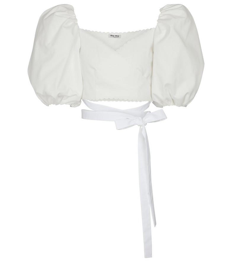 Miu Miu Cropped cotton blouse in white