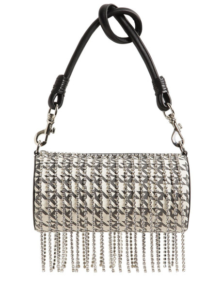 AREA Roll Leather Shoulder Bag W/ Crystals in black / white
