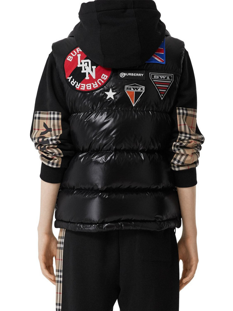 BURBERRY Nylon Down Vest W/patches in black