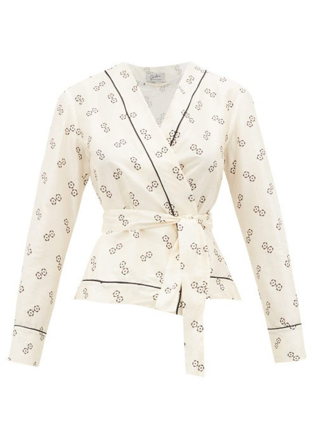 Giuliva Heritage Collection - The Amanda Geometric Print Cotton Blend Wrap Top - Womens - Ivory Multi
