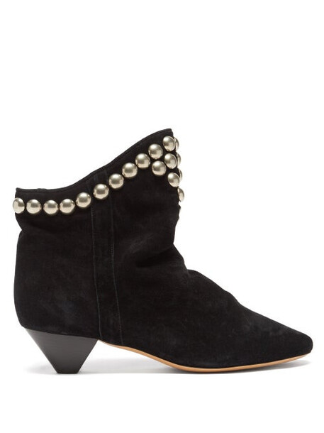 Isabel Marant - Doey Studded Suede Ankle Boots - Womens - Black