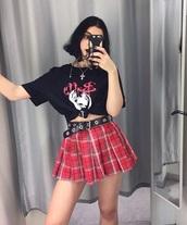 skirt,plaid,harajuku,punk,pink,red