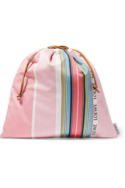Loewe - Large Striped Cotton-canvas Pouch - Pink