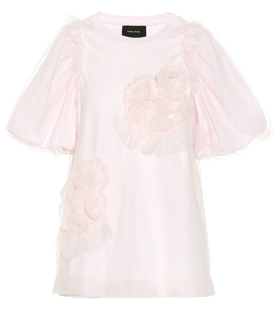 Simone Rocha Tulle and cotton top in pink