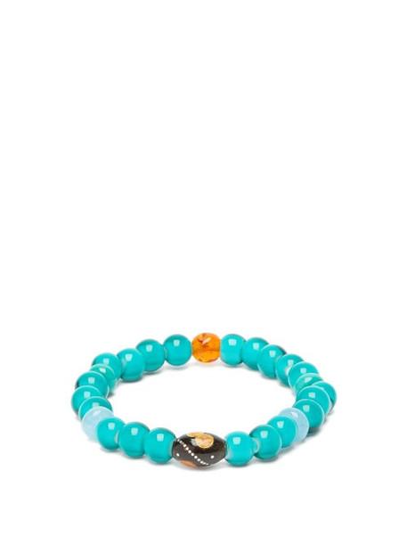 Musa By Bobbie - Aquamarine, Turquoise & Amber Bead Bracelet - Womens - Blue