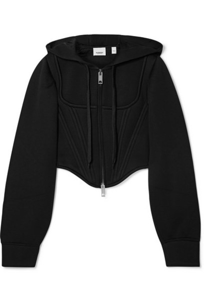 Burberry - Cropped Paneled Modal-neoprene Hoodie - Black