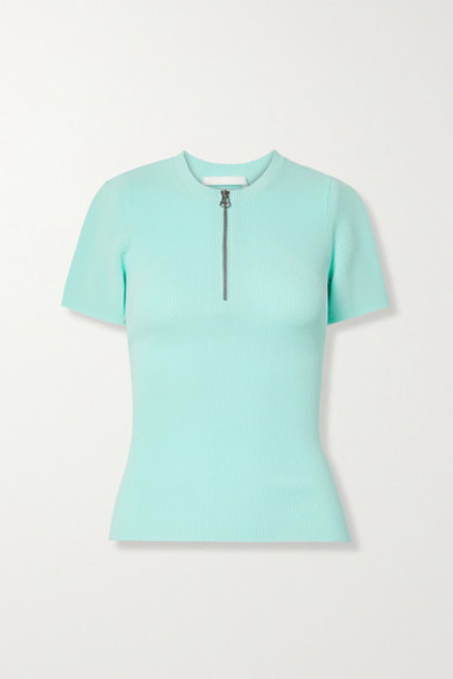 Helmut Lang - Zip-detailed Ribbed-knit Top - Sky blue