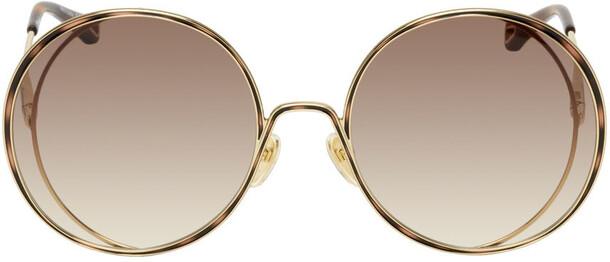 Chloé Chloé Gold & Brown Round Sunglasses