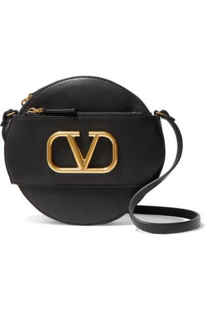 Valentino - Valentino Garavani Go Logo Leather Shoulder Bag - Black