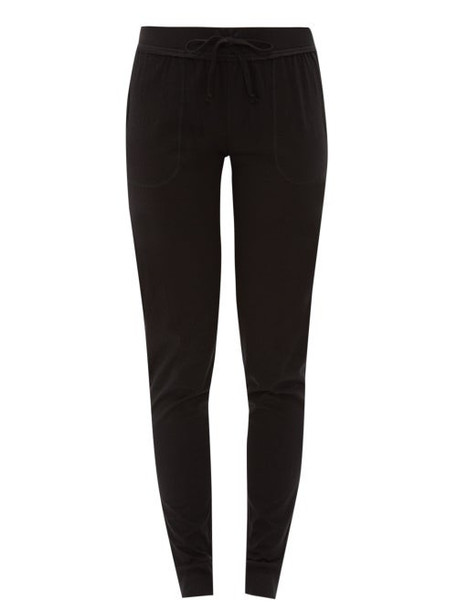 Skin - Cuffed Cotton Jersey Pyjama Trousers - Womens - Black