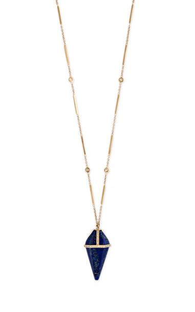 Jacquie Aiche 14K Yellow Gold Lapis Pendulum Necklace