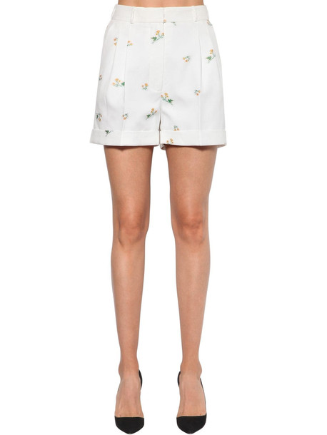 RACIL High Waist Floral Jacquard Shorts in white / yellow