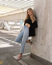 jeans,high waisted jeans,black sandals,black blazer,crop tops