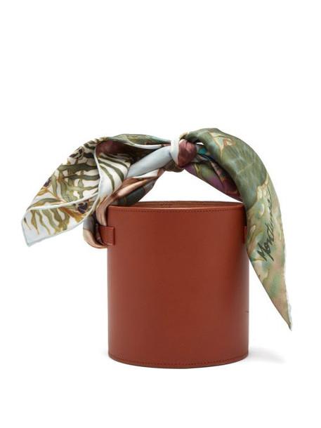 Montunas - Isla Leather And Silk Scarf Bucket Bag - Womens - Tan