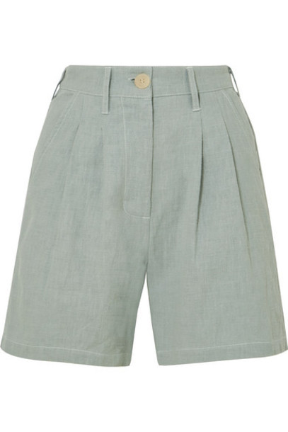 L.F.Markey - Pleated Linen And Cotton-blend Shorts - Blue