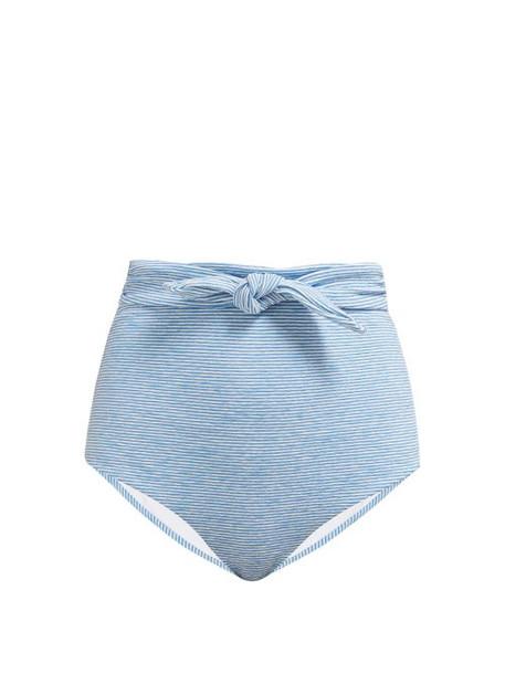 Mara Hoffman - Jay Striped Belted Bikini Briefs - Womens - Blue White