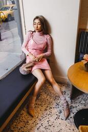not jess fashion,blogger,dress,shoes,socks,bag,leather dress,pink sweater,pink dress