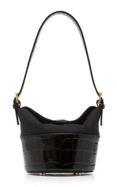 by FAR Jamie Mini Duchesse-Satin and Croc-Effect Leather Shoulder Bag in black