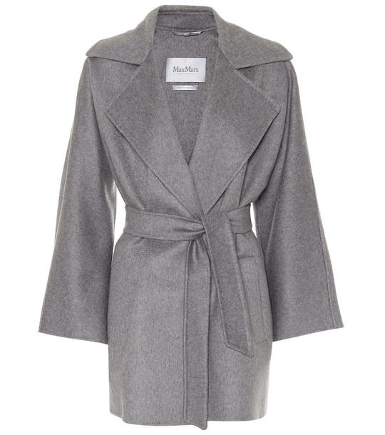 Max Mara Carpi belted cashmere coat in grey