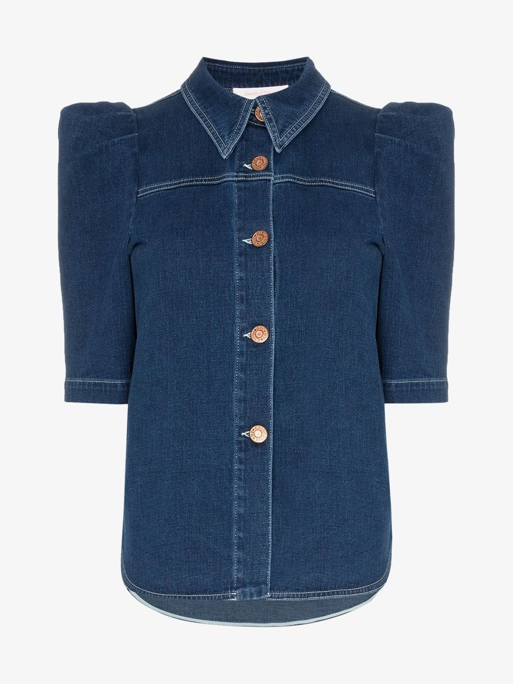 See By Chloé See By Chloé button down puff sleeve denim blouse
