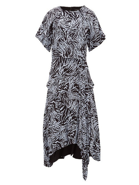 Proenza Schouler - Asymmetric Zebra Print Crepe Dress - Womens - Blue Multi