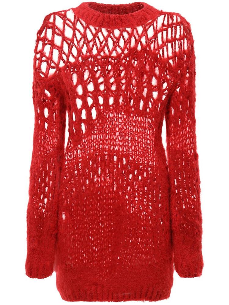 JUNYA WATANABE Openwork Wool Knit Sweater in red
