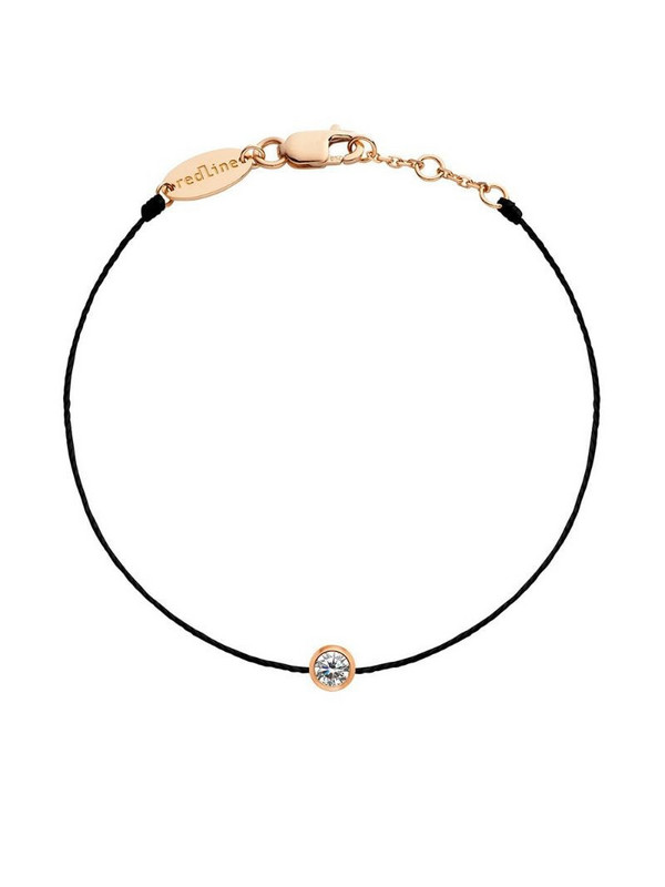 Redline 18kt rose gold Pure diamond string bracelet in black