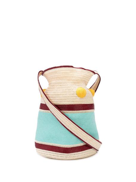 Rosie Assoulin block colour woven shoulder bag in neutrals