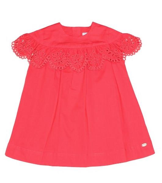 Tartine et Chocolat Embroidered cotton dress in red