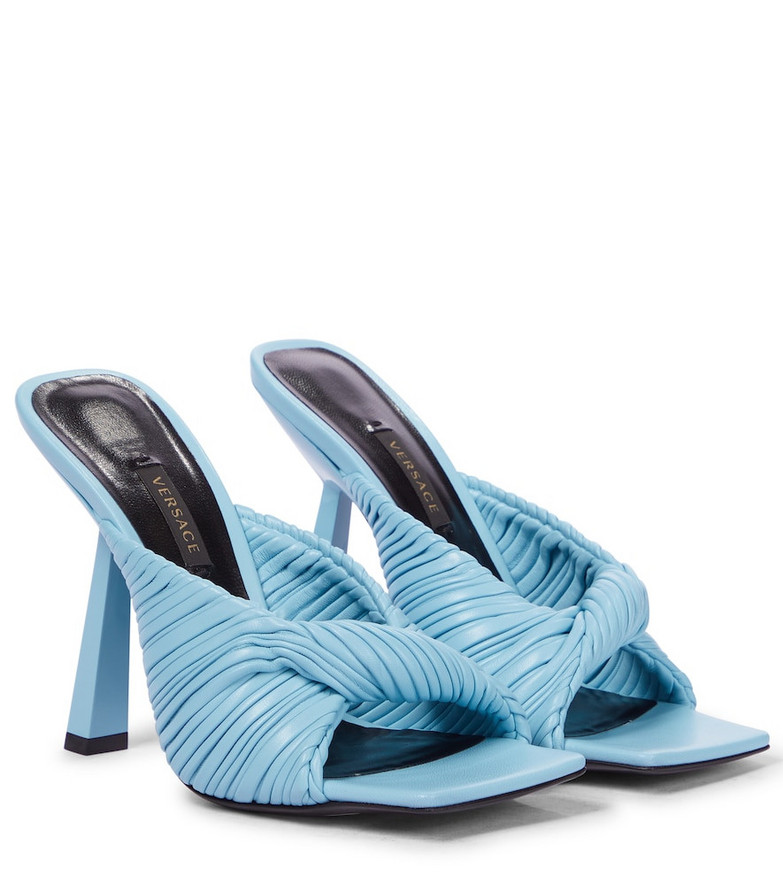 Versace Leather sandals in blue