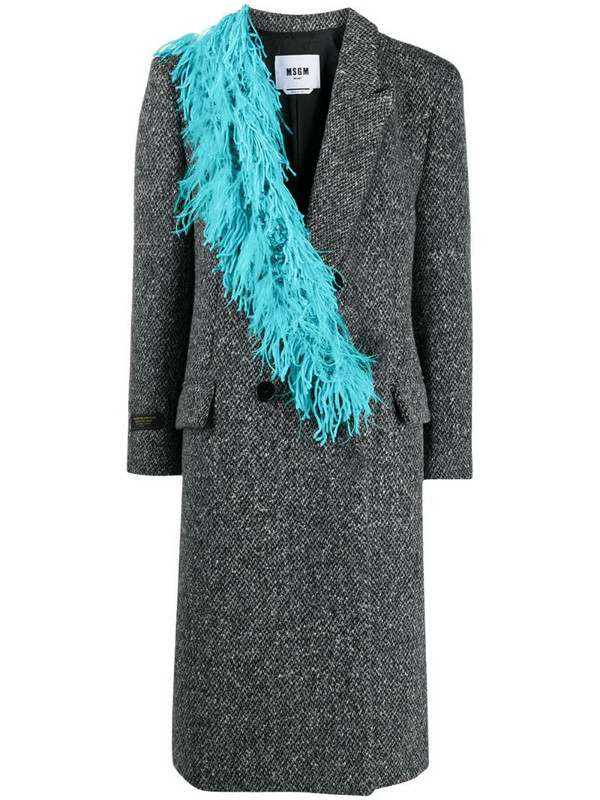MSGM feather-trim double-breasted coat in grey