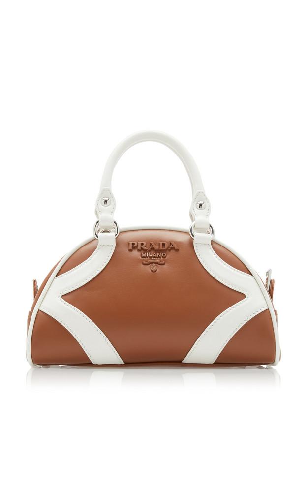 Prada Two-Tone Leather Top Handle Bag in brown