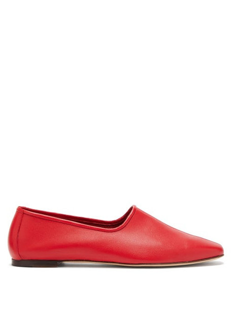 By Far - Petra High Cut Leather Loafers - Womens - Red