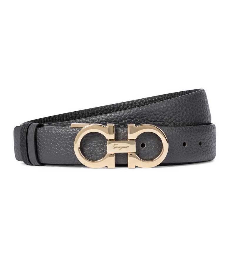 Salvatore Ferragamo Gancini reversible leather belt in black