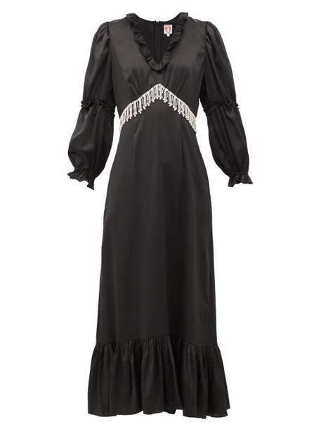 Shrimps - Rosemary Crystal-fringe Satin Midi Dress - Womens - Black