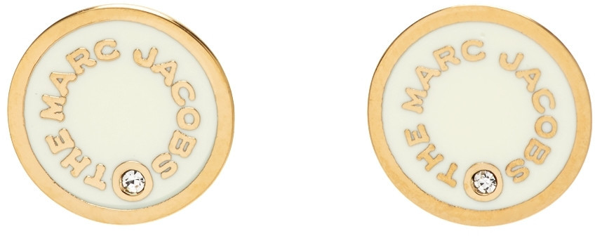 Marc Jacobs Gold & Off-White 'The Medallion' Stud Earrings in cream