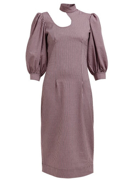 Ganni - Striped Cotton Blend Seersucker Midi Dress - Womens - Pink