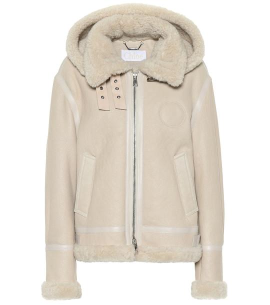 Chloé Hooded shearling jacket in beige