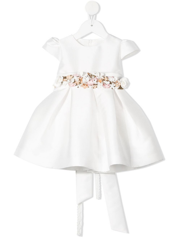 Mimilù Mimilù floral belt flared dress - White