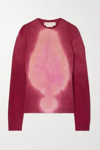 Marni - Tie-dyed Wool Sweater - Burgundy