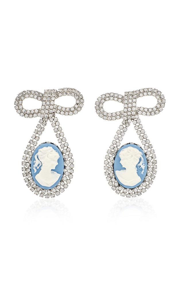 Jennifer Behr Guilia Silver-Tone And Crystal Earrings in blue